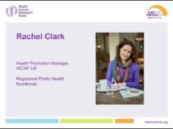 World Cancer Research Fund webinar on diet, mouth, and gastrointestinal cancers
